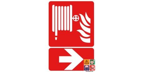Panneau lance incendie vers la droite