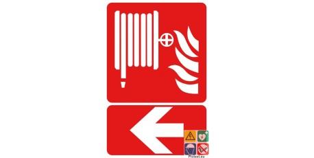 Panneau lance incendie vers la gauche
