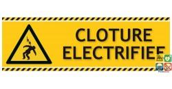 Panneau danger clôture électrifiée picto-texto