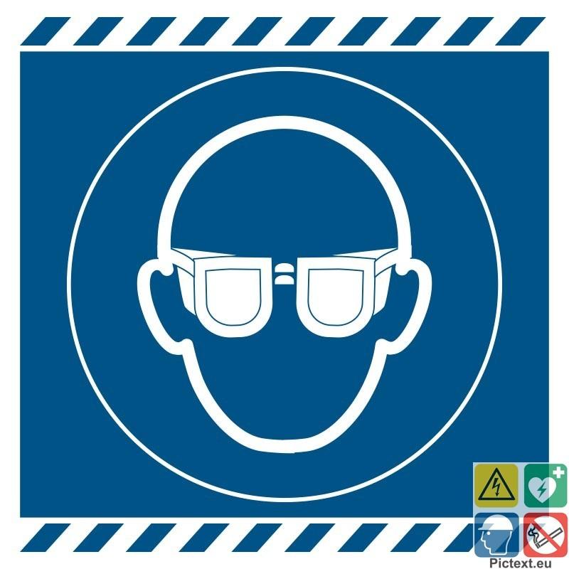 Signal tique lunettes de protection obligatoire iso7010 - Port des lunettes de securite obligatoire ...