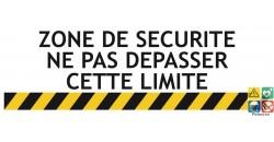 Panneau risques sur machine zone de sécurité ne pas dépasser cette limite
