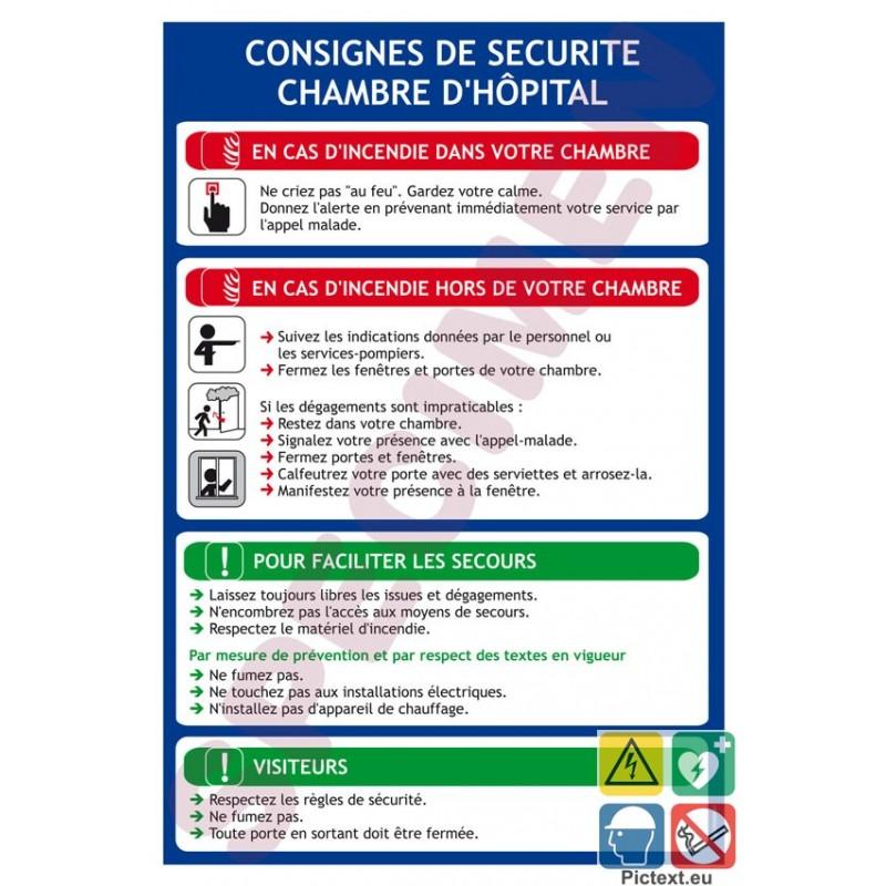 Consigne de s curit sp cifique chambre h pital et clinique for Chambre de securite
